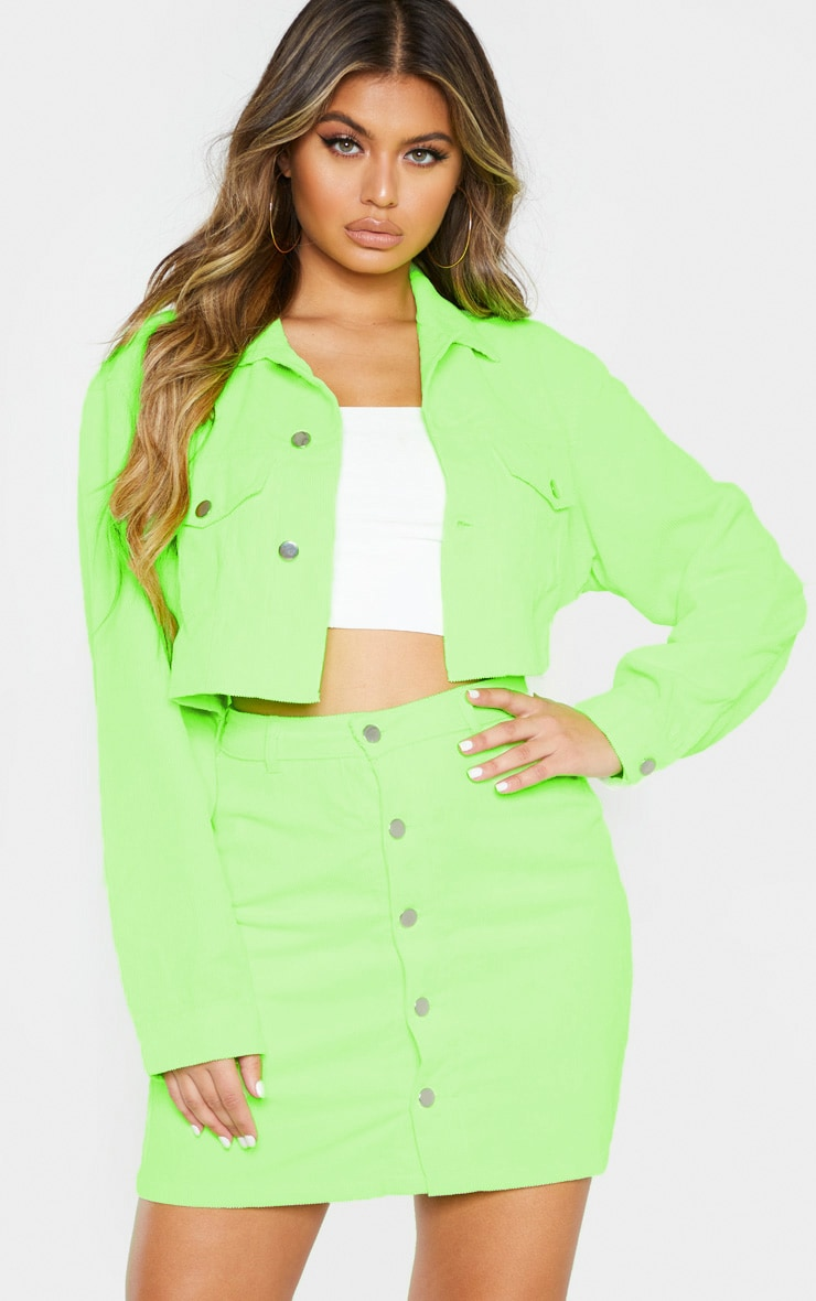 Neon Lime Cord Button Down Skirt 1