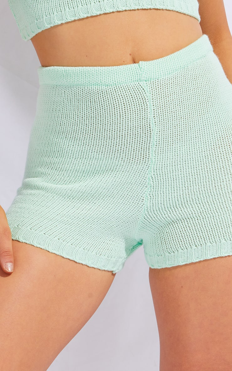 Mint Knitted High Waisted Shorts 5