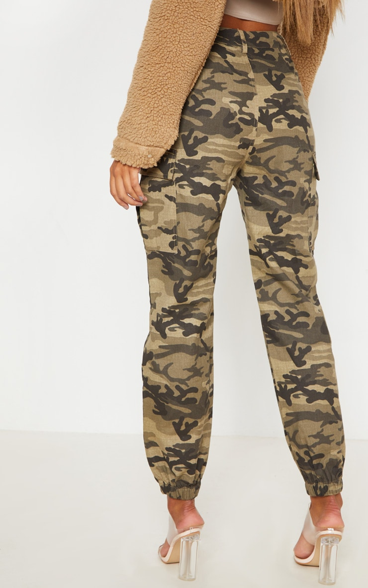 Khaki Camo Pocket Detail Cargo Trouser  4