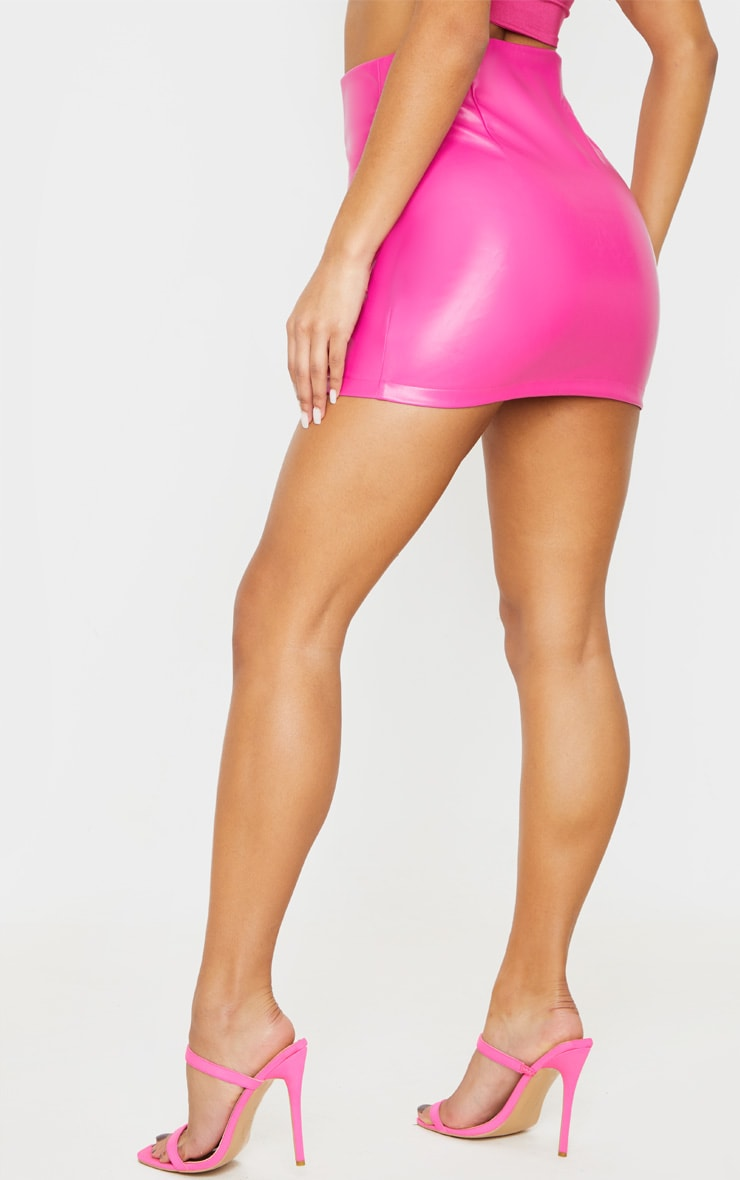 Hot Pink Faux Leather Lace Up Mini Skirt 4
