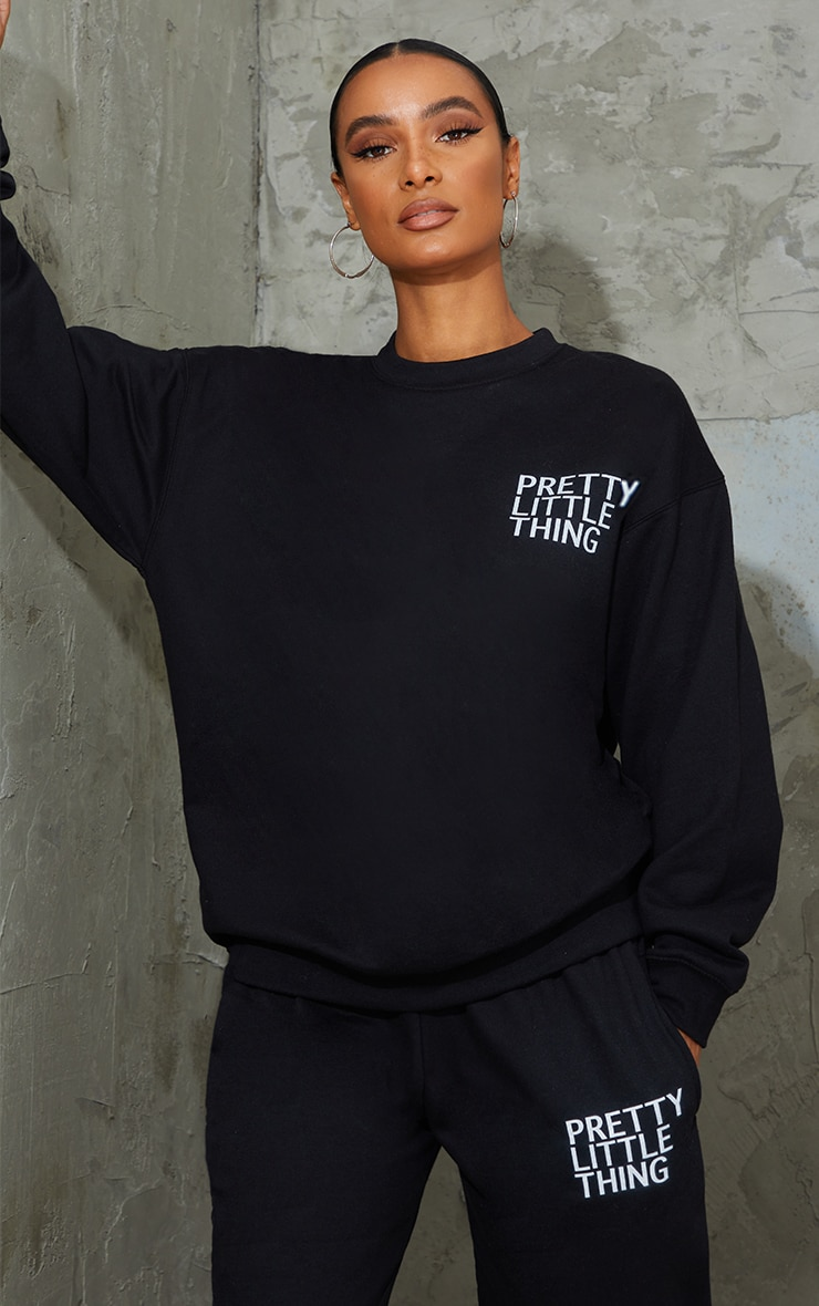 PRETTYLITTLETHING Black Printed Oversized Sweater 1