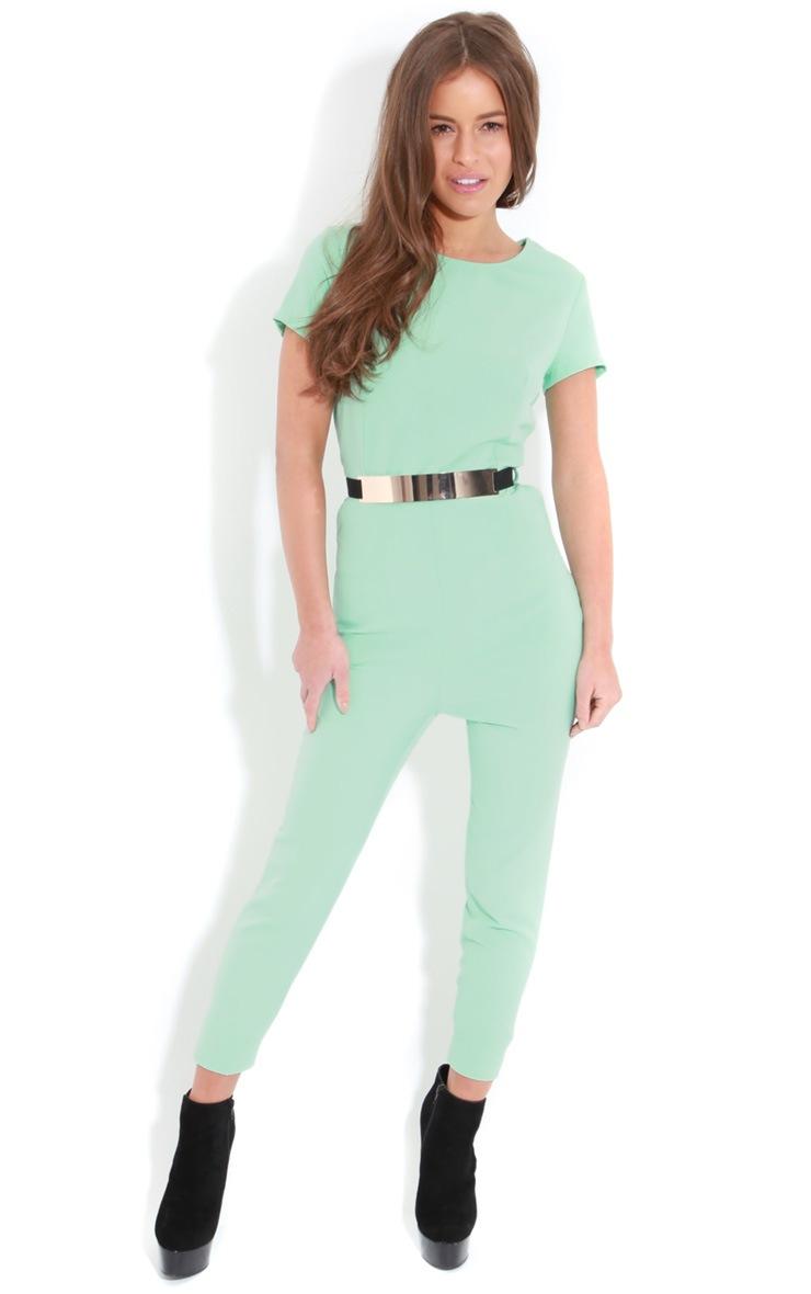 Alberta Mint Short Sleeve Belted Jumpsuit 3