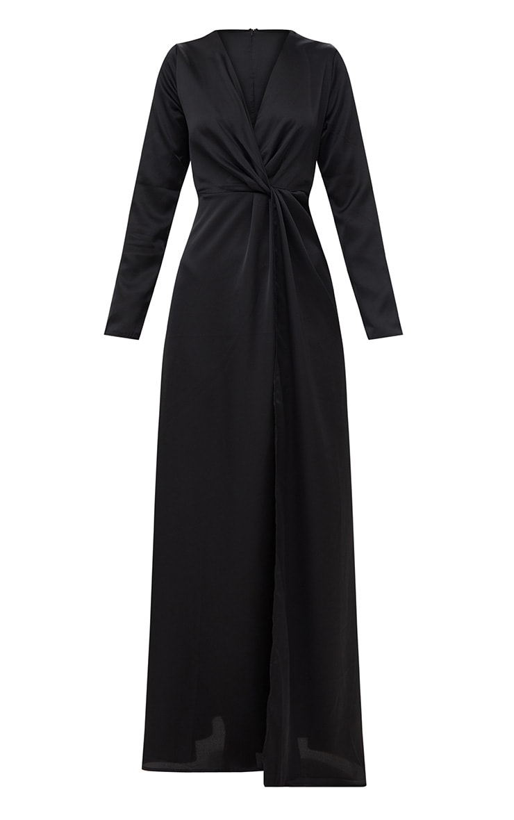 Black Satin Twist Front Maxi Dress 3