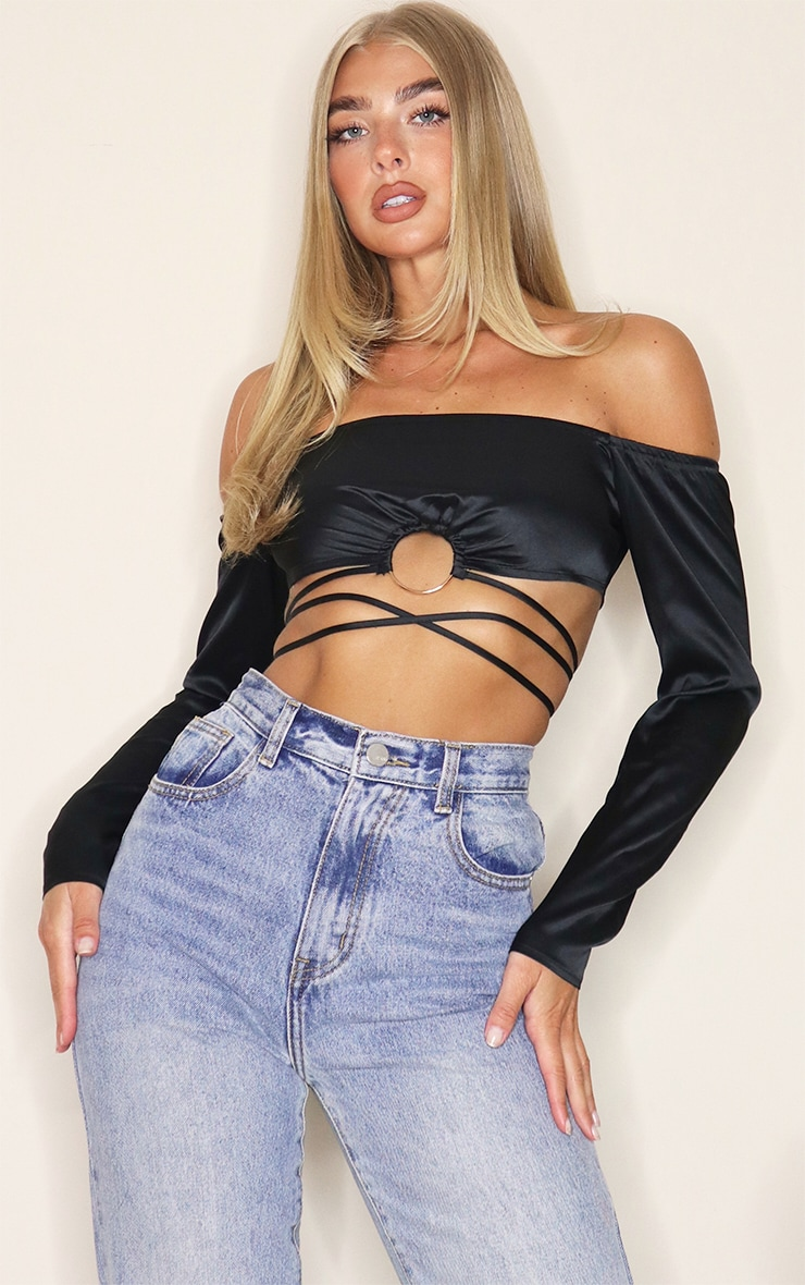 Black Woven Bardot O Ring Tie Waist Crop Top 1
