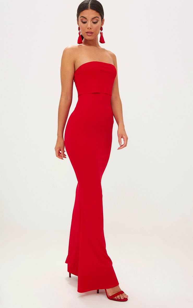 Red Bandeau Frill Hem Maxi Dress 4