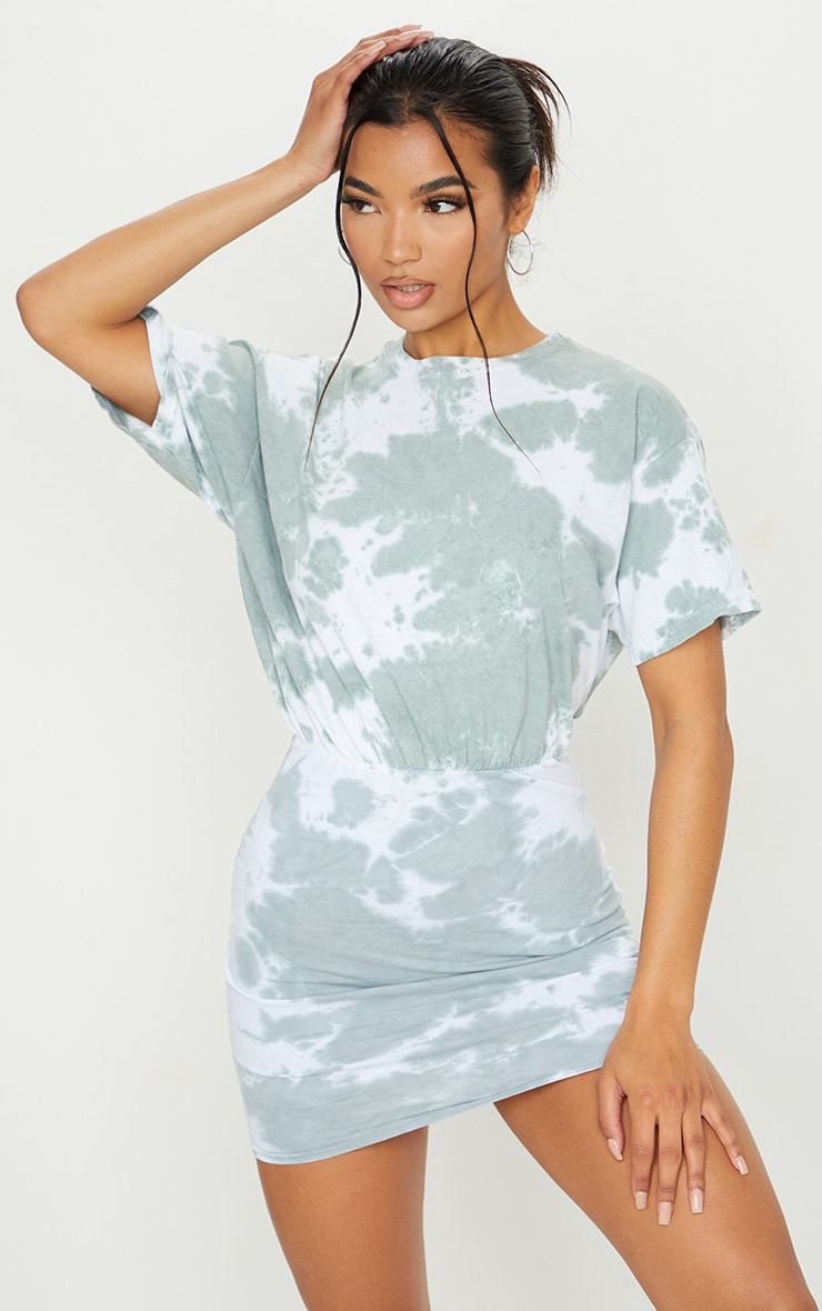 Sage Green Tie Dye Elastic Waist T Shirt Dress 1