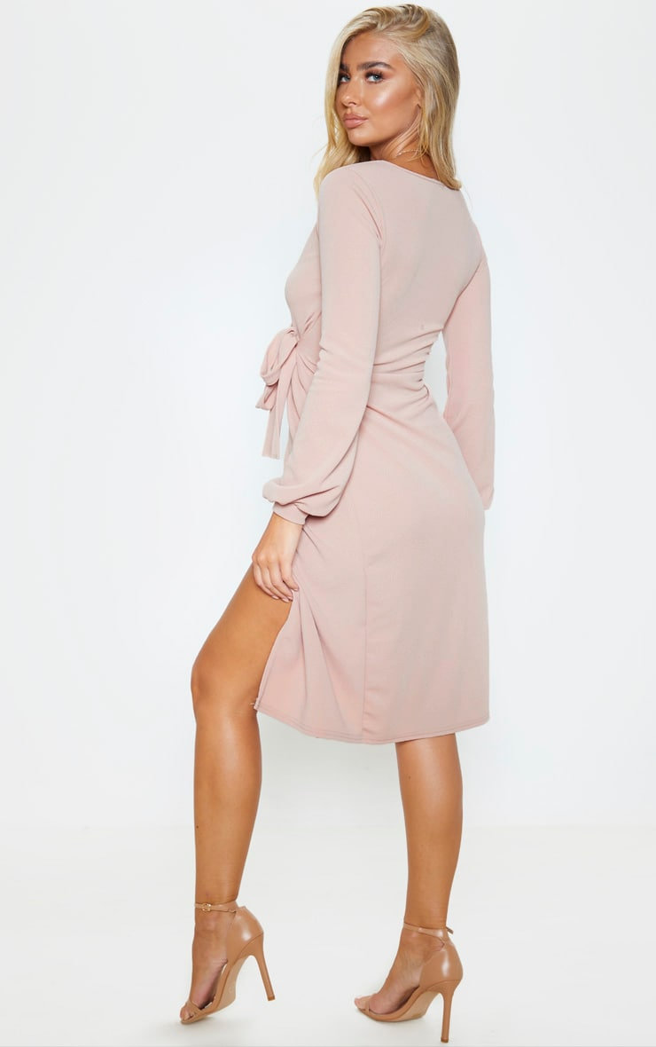 Stone Balloon Sleeve Wrap Midi Dress 2