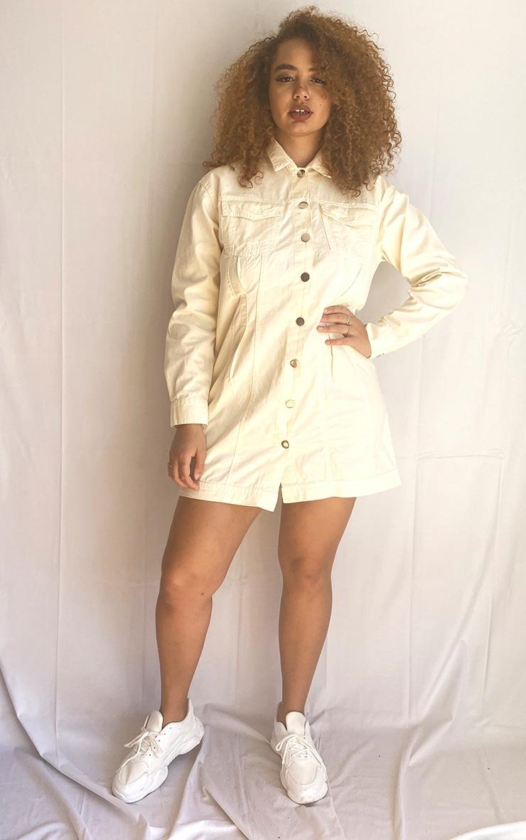 Plus Ecru Pocket Detail Button Down Denim Shirt Dress 1