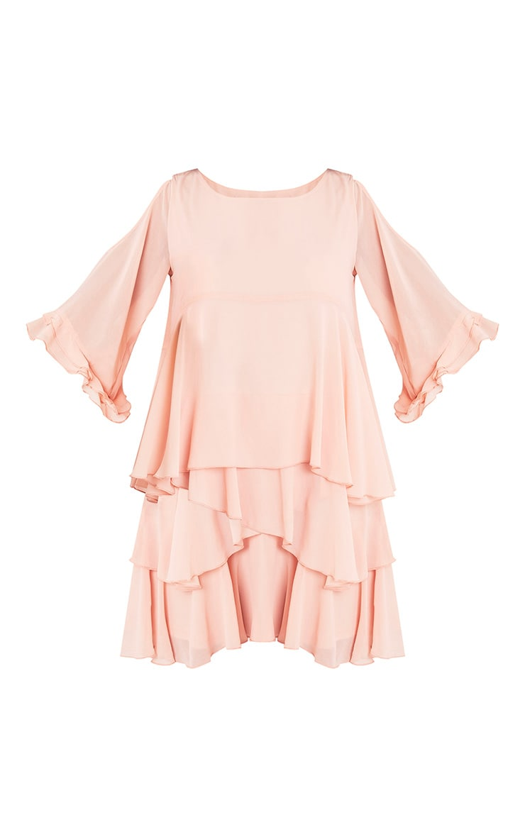 Tessa Blush Cold Shoulder Ruffle Swing Dress 3