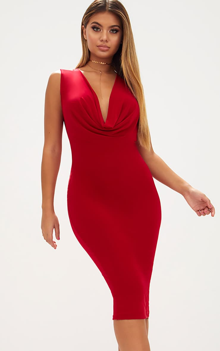 Red Slinky Cowl Neck Midi Dress 1