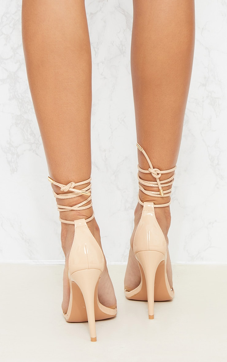 Nude Strappy Barely There Ankle Tie Sandal 4