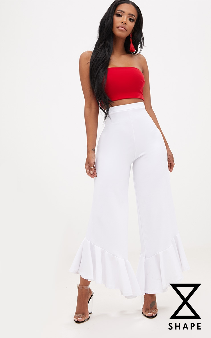 Shape Carmelia White Frill Hem Trousers 1