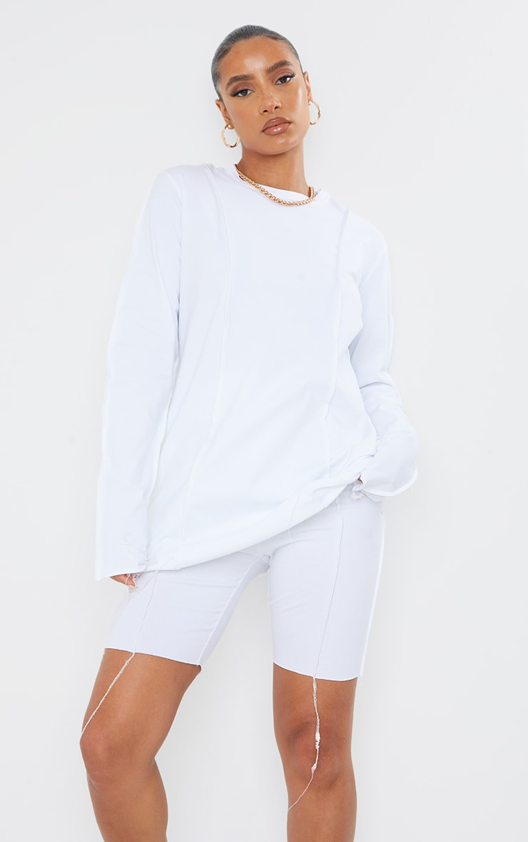White Cotton Overlock Stitch Detail Long Sleeve Top 2
