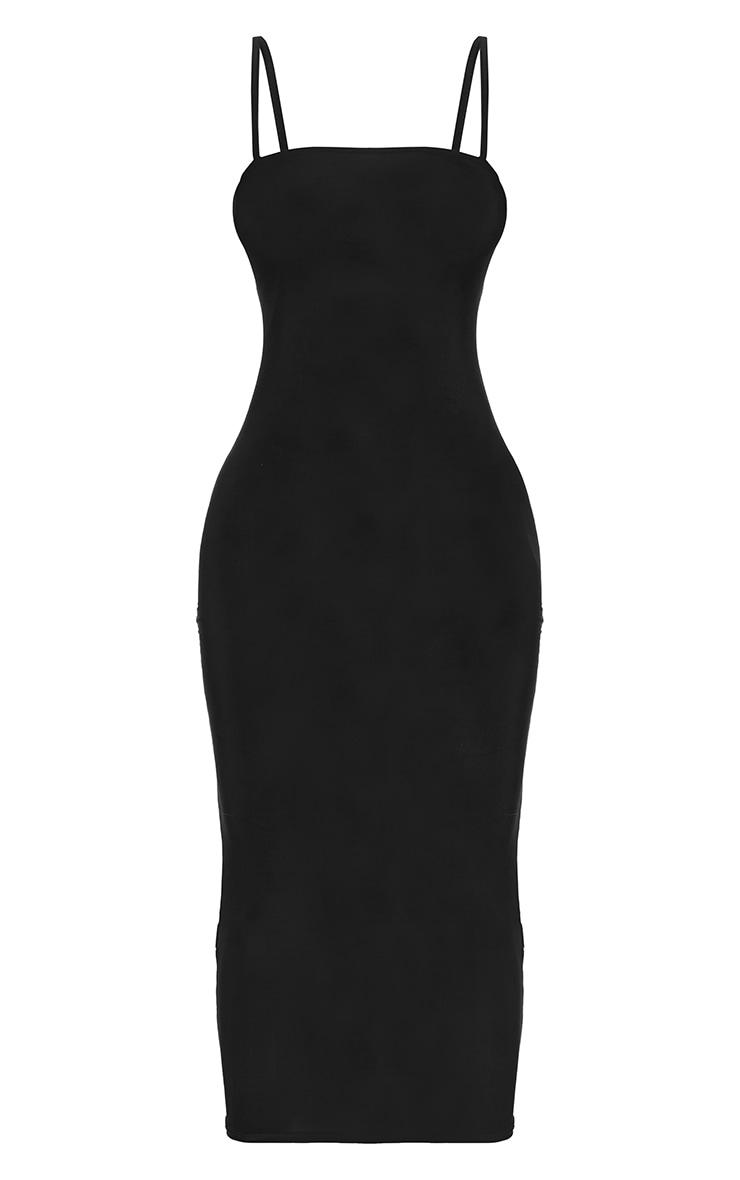 Petite Black Square Neck Strappy Slinky Midaxi Dress 6