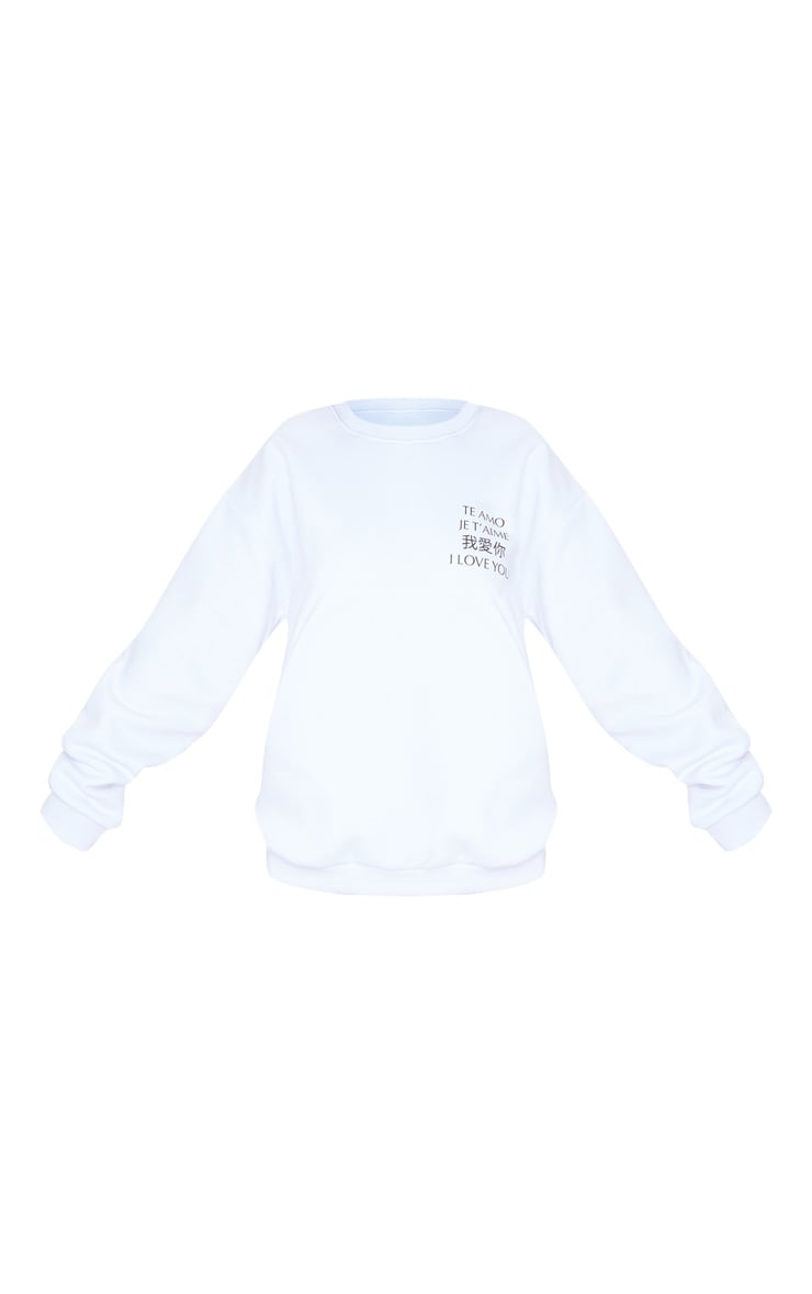 White I Love You Slogan Oversized Sweater 3