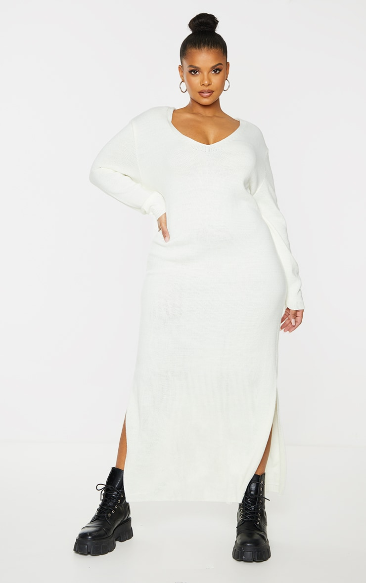 Plus Cream V Neck Midaxi Knitted Dress 1
