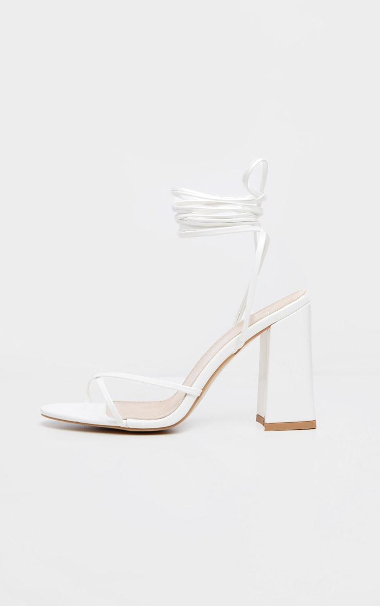 White Block Heel Ankle Tie Toe Thong Sandal 3