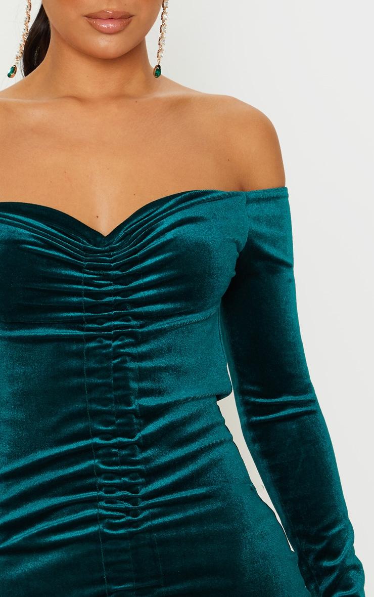 Emerald Green Velvet Bardot Ruched Long Sleeve Bodycon Dress 5