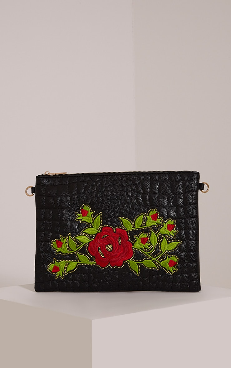 Ilana Black Floral Embroidery Clutch Bag 1