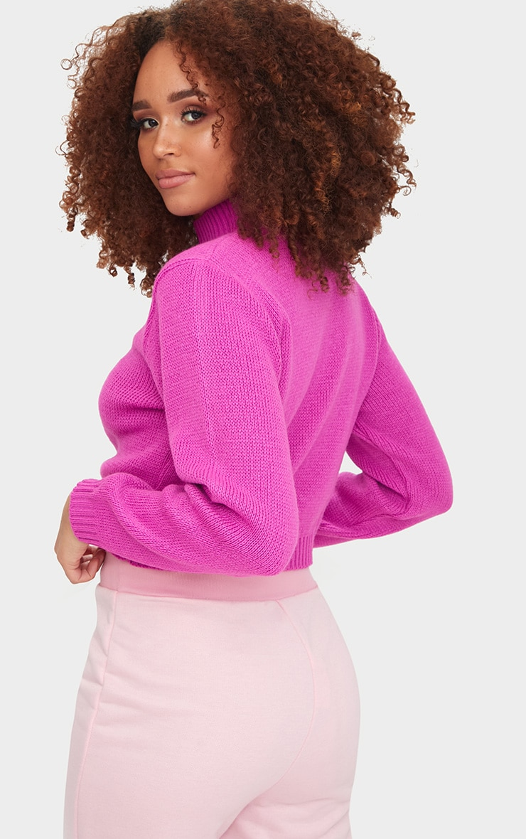 Fuchsia High Neck Soft Knit Cropped Jumper 2