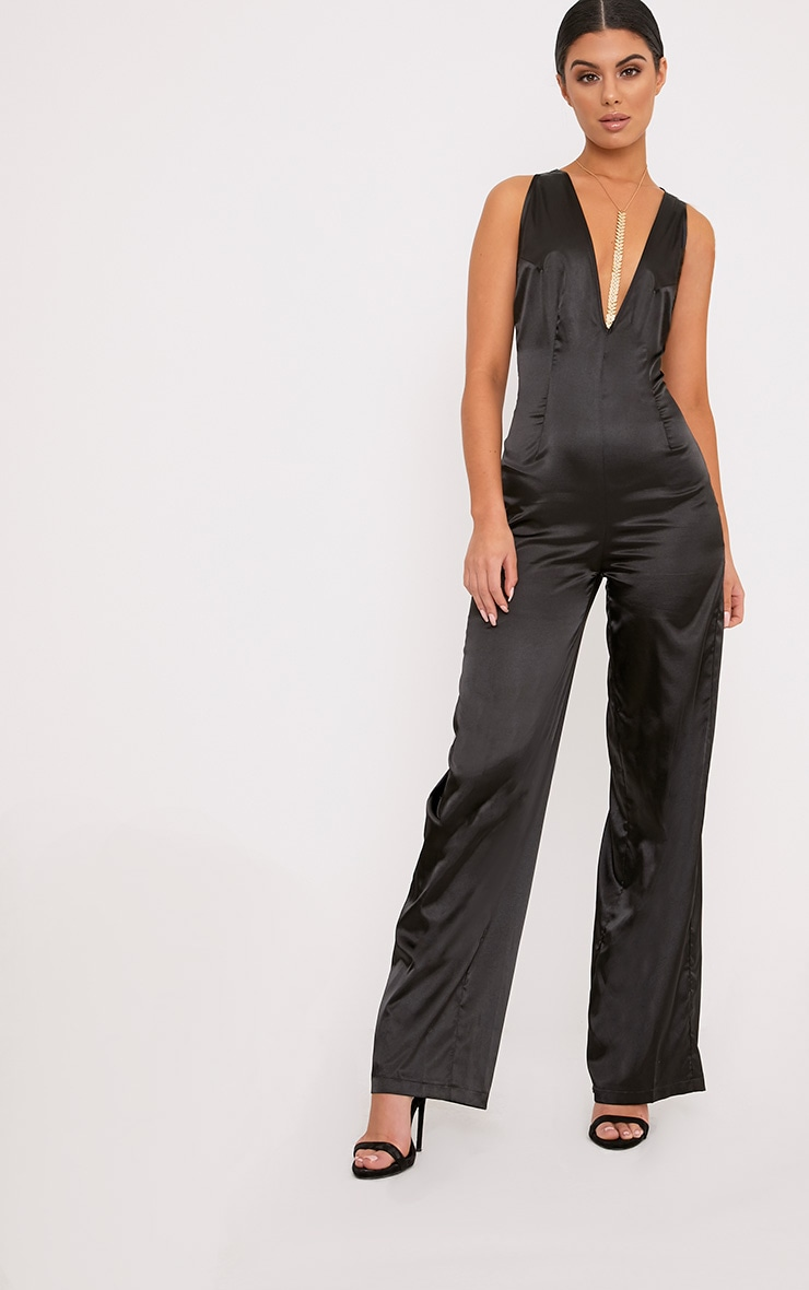 Leona Black Satin Clip Back Jumpsuit  1
