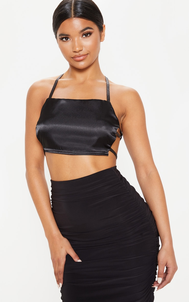 Black Satin Backless Strappy Crop Top 1