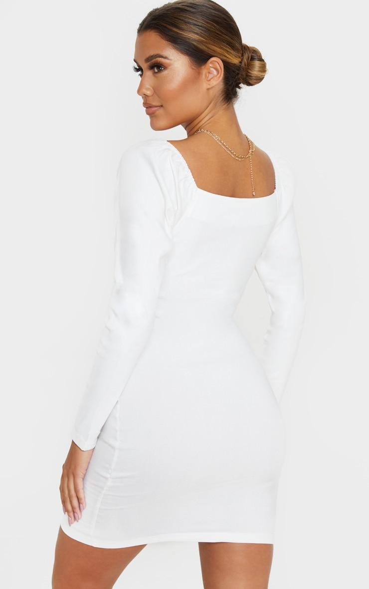 White V Neck Puff Shoulder Bodycon Dress 2