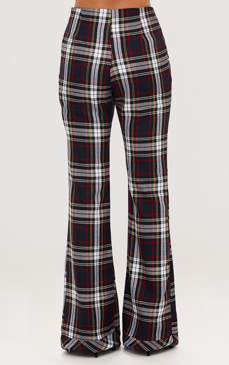 Navy Tartan Mix Check Flare Trousers 4