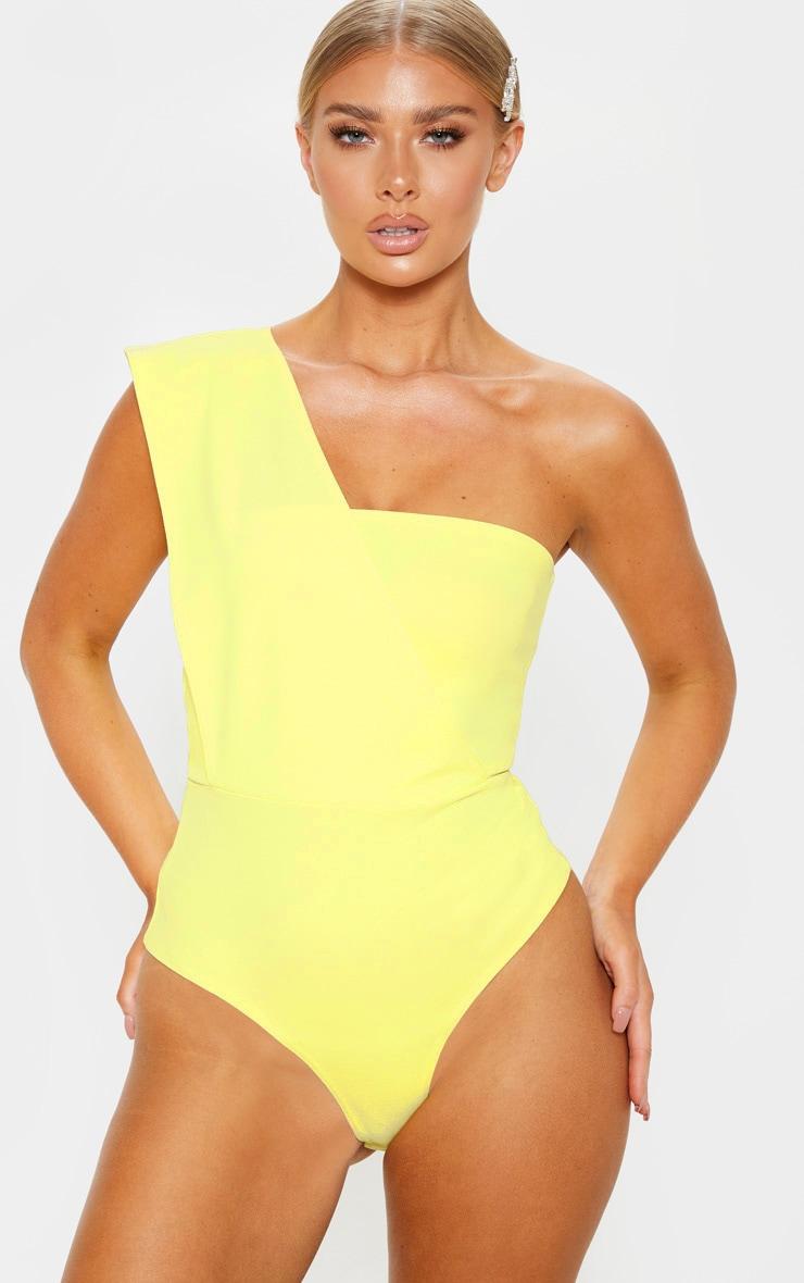 Light Lime One Shoulder Bodysuit 2