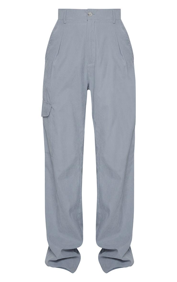 Grey Peached Finish Wide Leg Cargo Pants 5