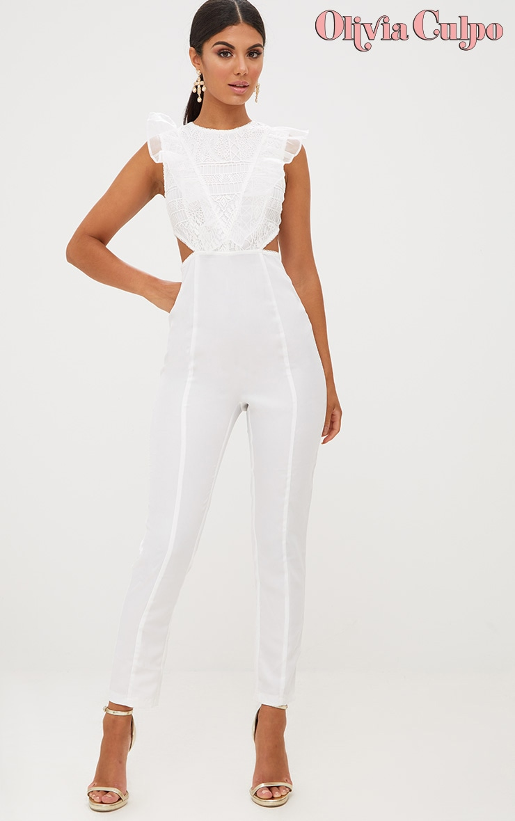 White Mesh Shoulder Cut Out Detail Jumpsuit 1