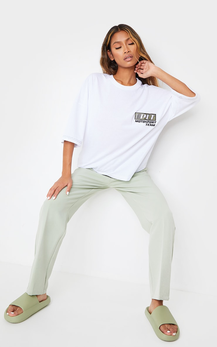 PRETTYLITTLETHING White Moto Embroidered Oversized T Shirt 3