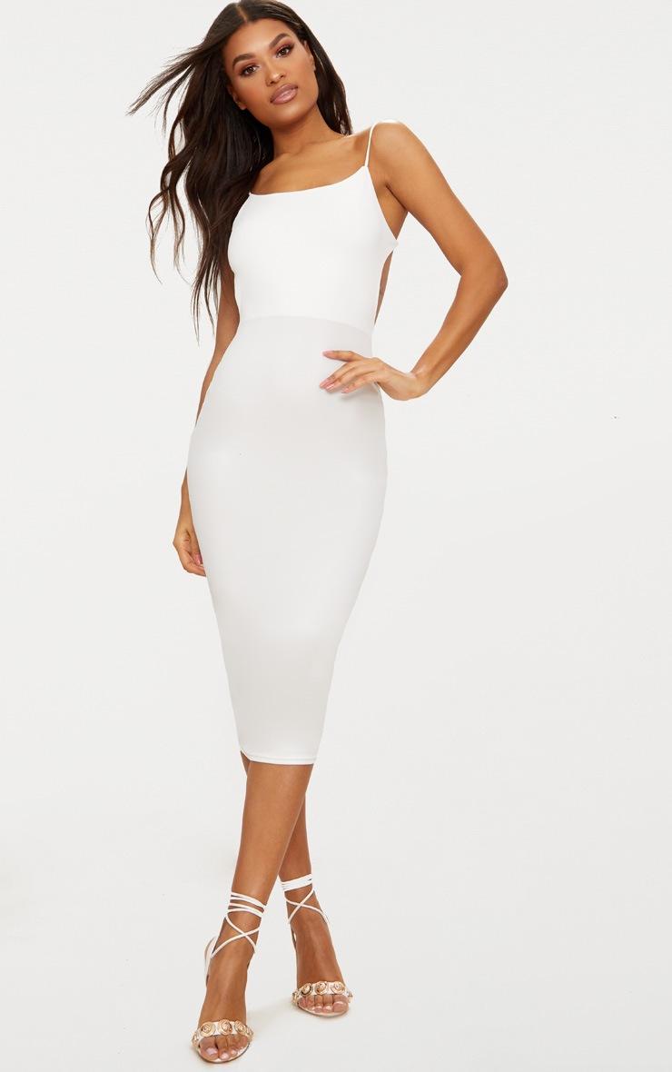 White Straight Neck Strappy Back Midaxi Dress 2