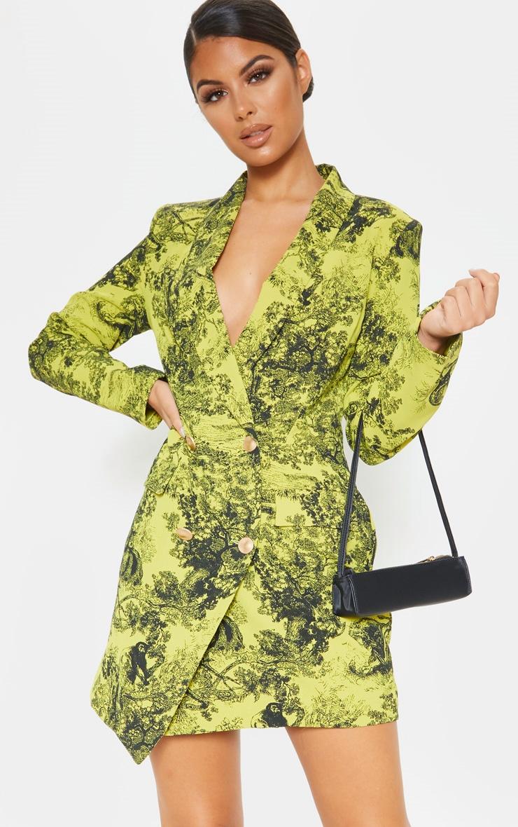 Lime Tiger Jungle Print Black Button Blazer Dress 1