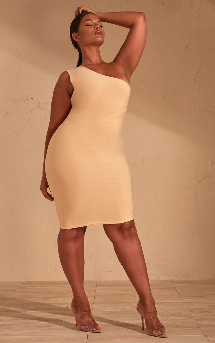 Plus Cream One Shoulder Midi Dress  1