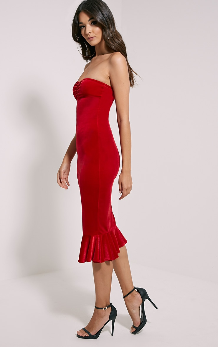 Tawny Red Velvet Bandeau Midi Dress 4