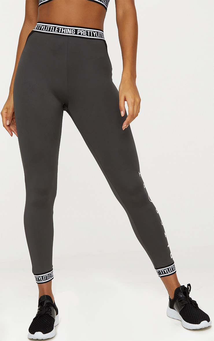 PrettyLittleThing Charcoal Banded Leggings 2
