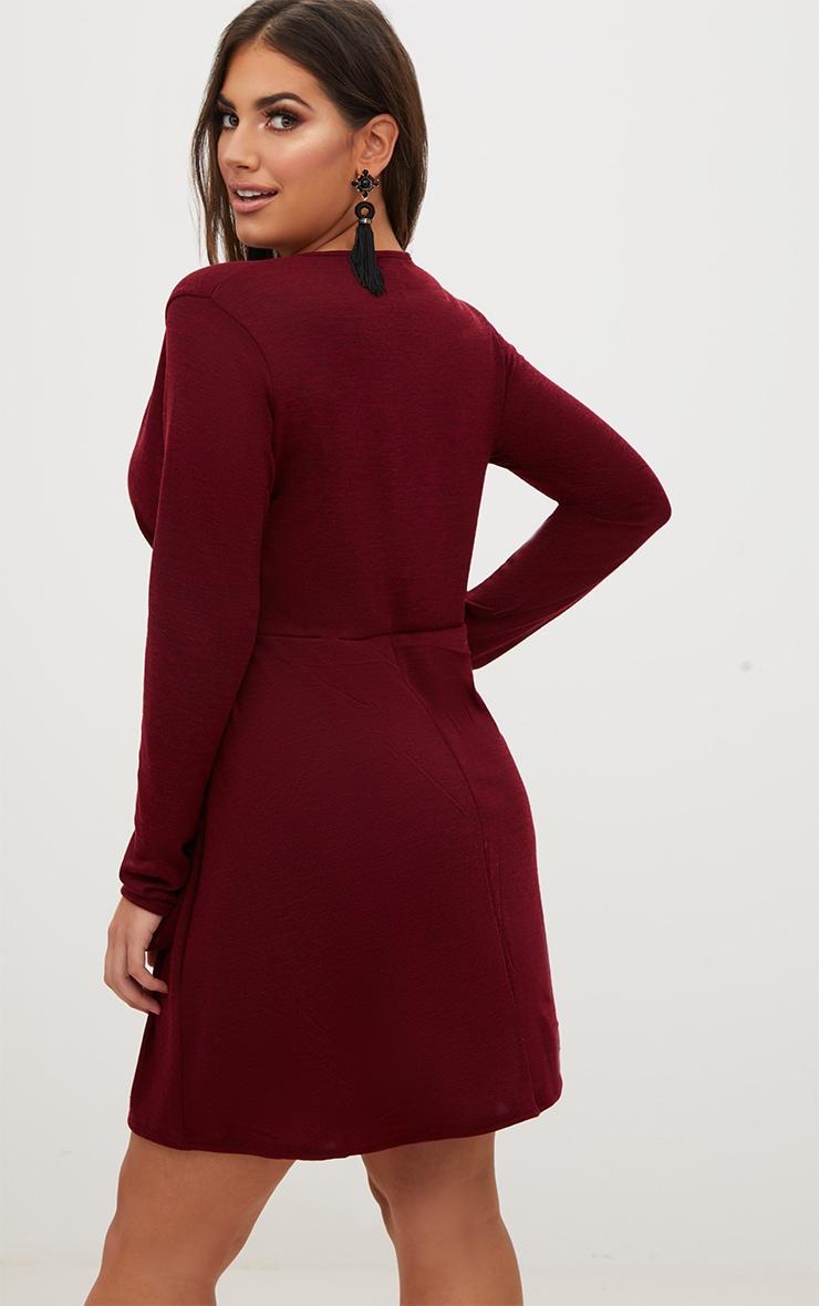 Plus Wine Tie Side Skater Dress 2