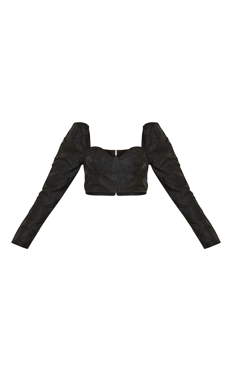 Black Structured Embossed Jacquard Cup Detail Puff Long Sleeve Crop Top 5