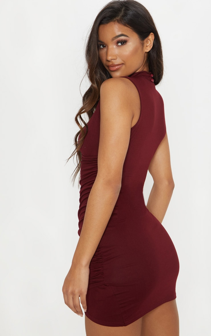 Amaris Burgundy Choker Detail Ruched Wrap Front Bodycon Dress 2