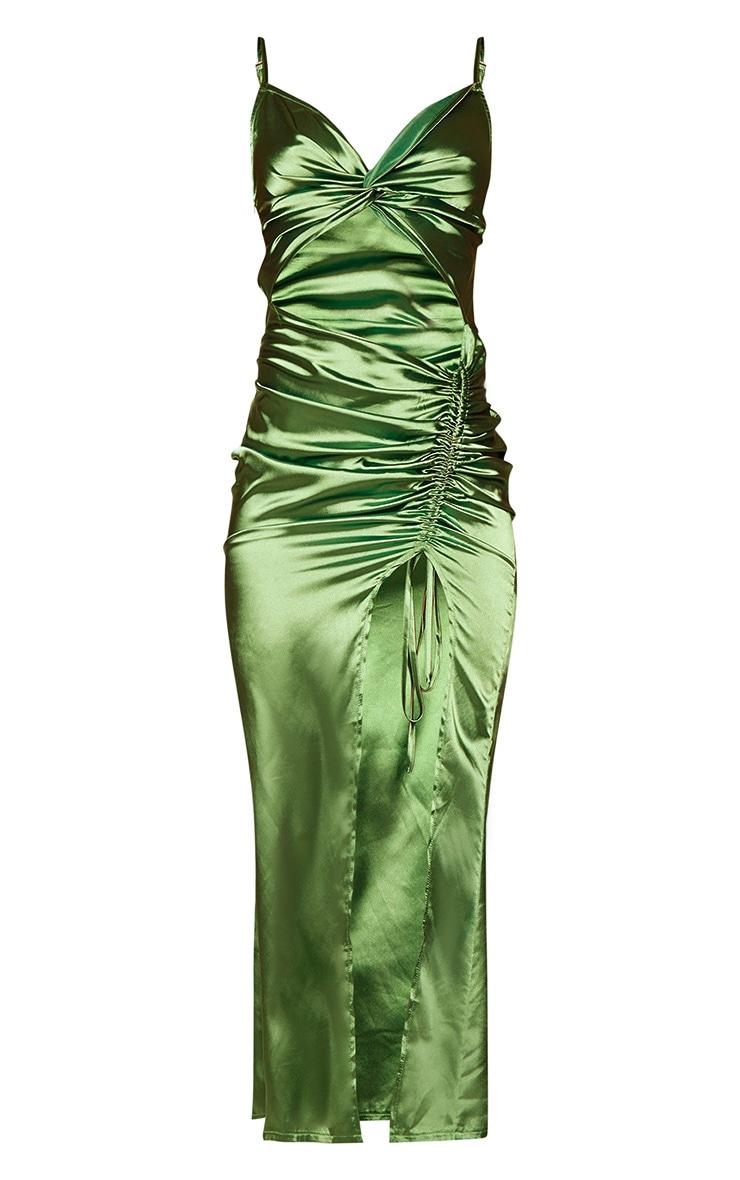 Olive Satin Twist Bust Ruched Maxi Dress 5