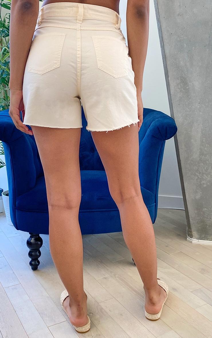 Tall Ecru High Waisted Distressed Frayed Hem Denim Shorts 3