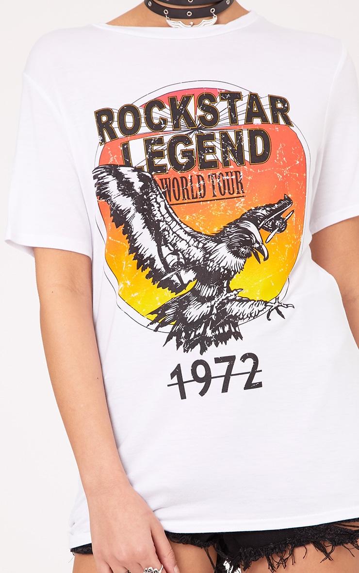 Rockstar Legend Slogan White Print T Shirt 5