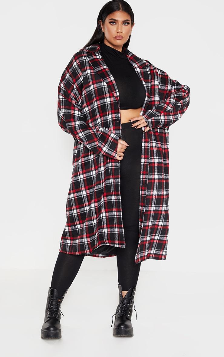 Plus Red Checked Boyfriend Oversized Midi Coat 1