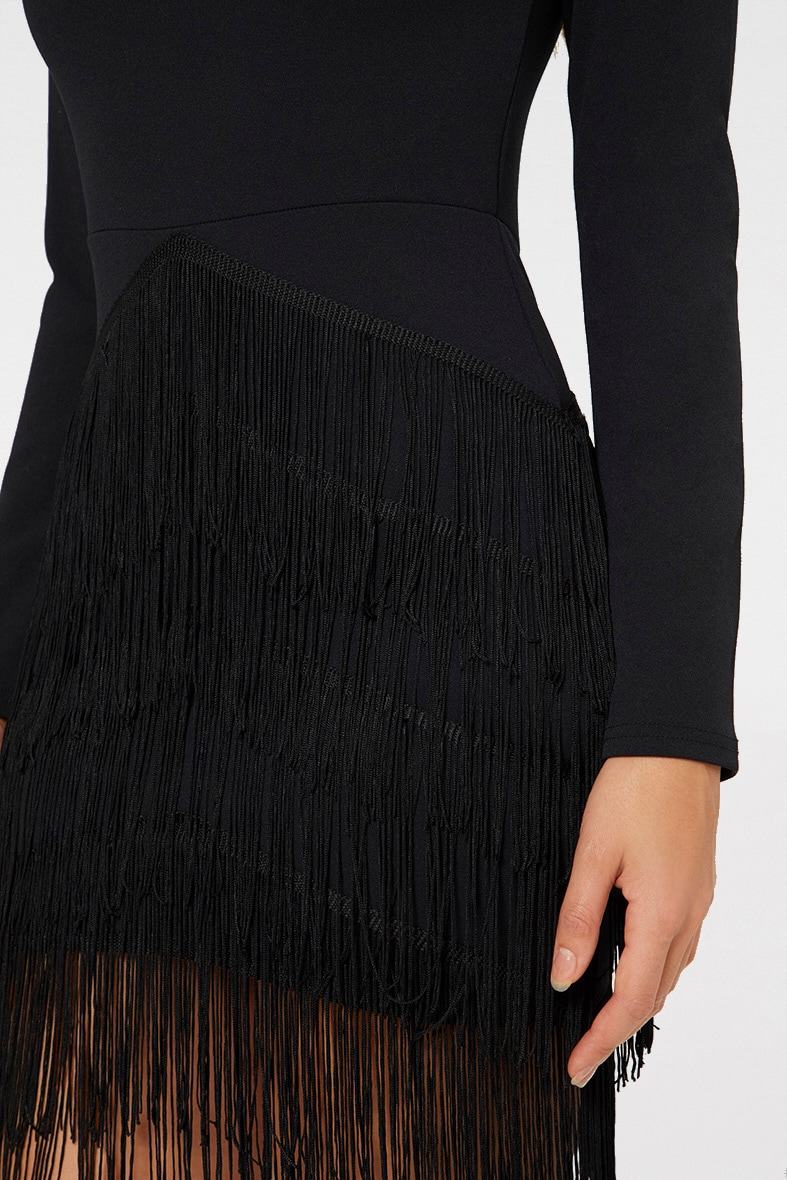 Black Long Sleeve Tassel Detail Bodycon Dress 5