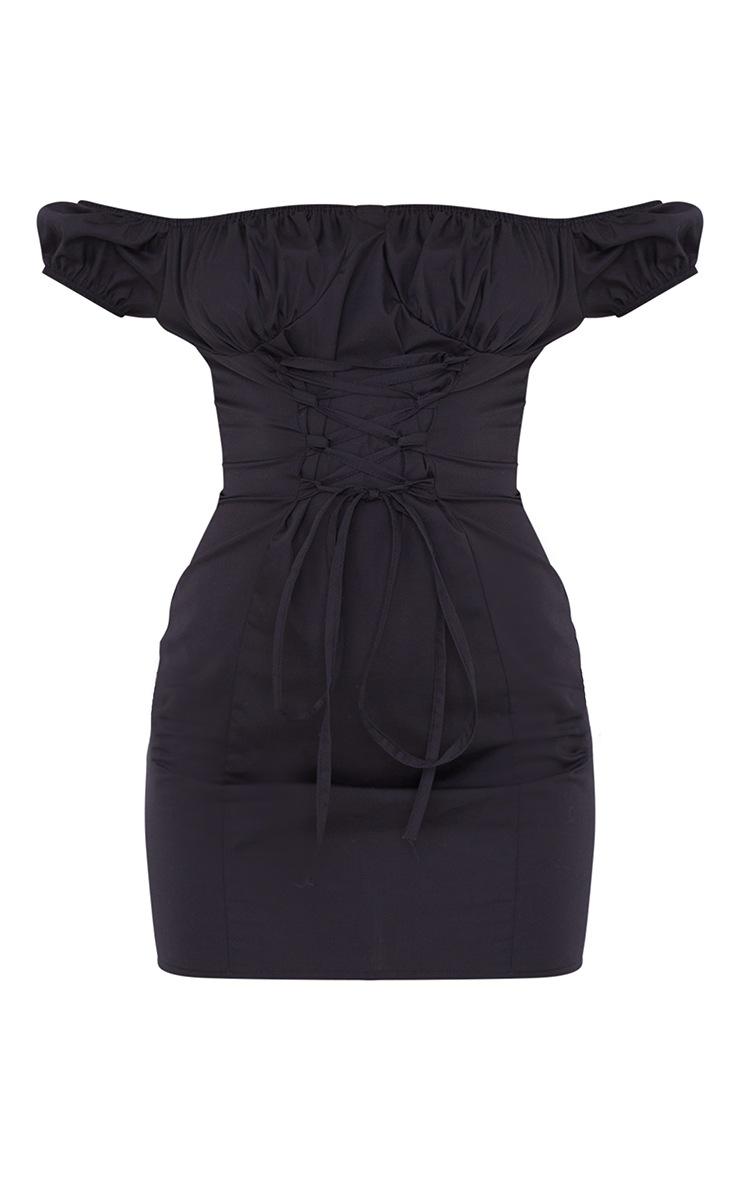 Black Woven Bardot Lace Up Detail Bodycon Dress 5