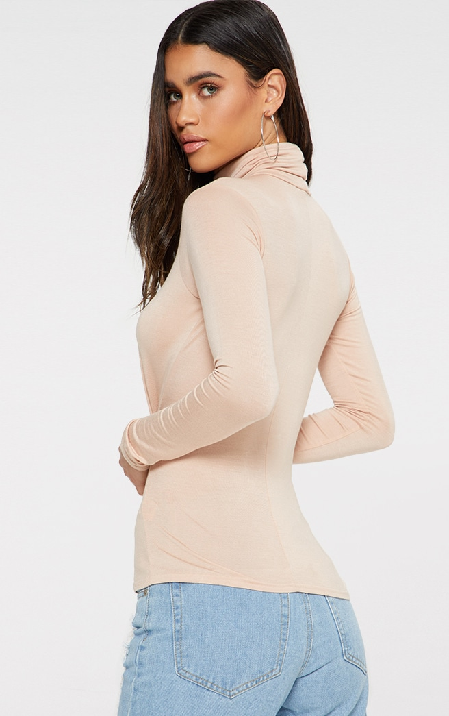 Basic Nude Long Sleeve Roll Neck Top 2
