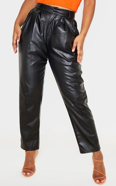 Black Faux Leather Pleat Cigarette Trouser