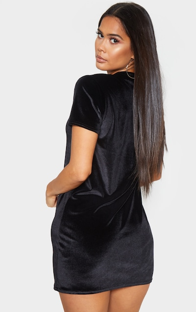Black Velvet Oversized T Shirt Dress