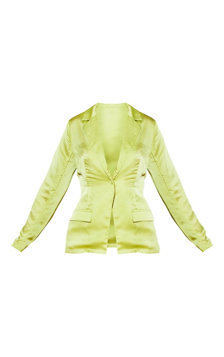 Plus Lime Satin Tailored Blazer 5